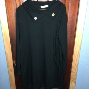 Black collared long sleeve dress tunic XL